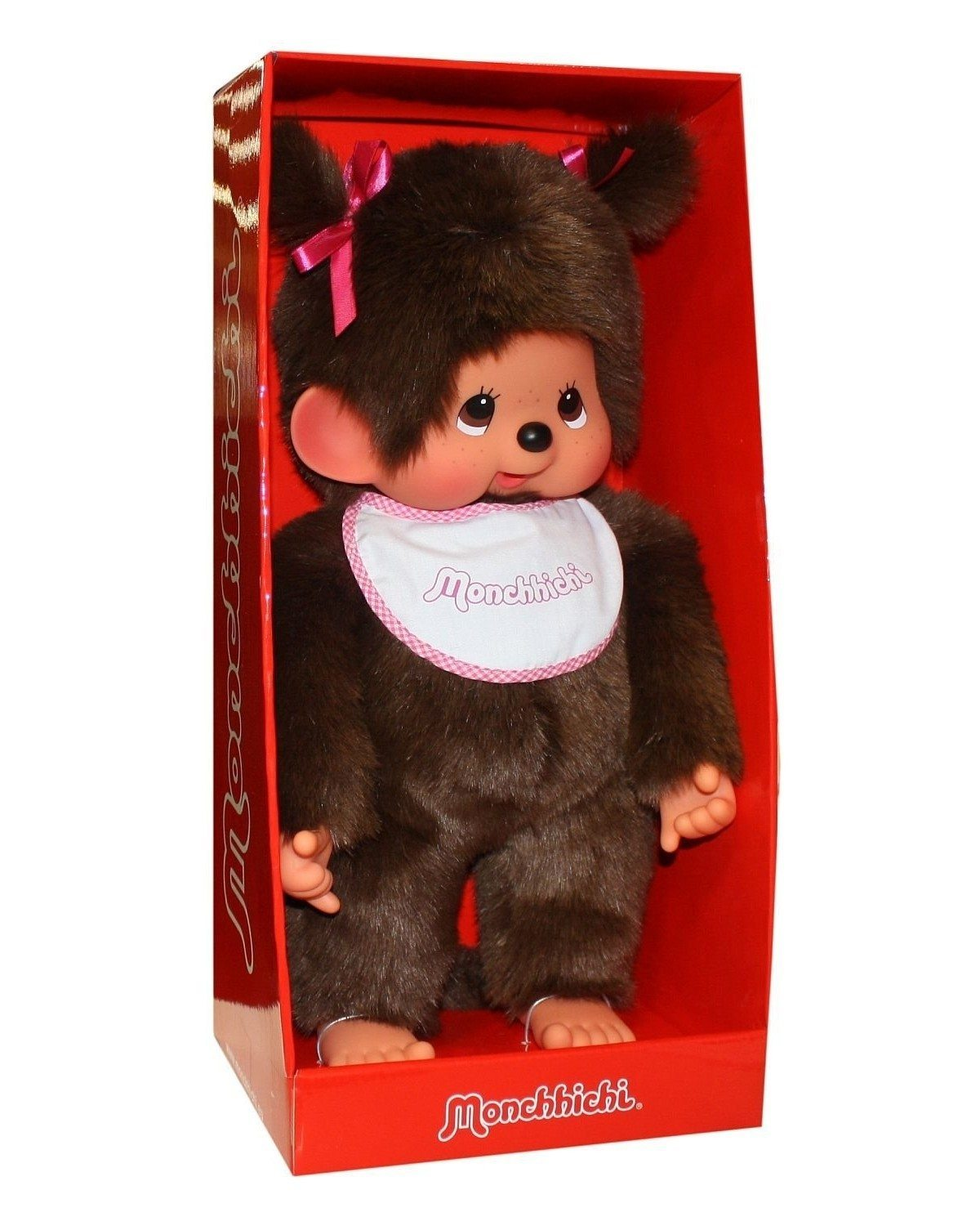 Peluche Kiki Monchhichi - fille aux nœuds roses