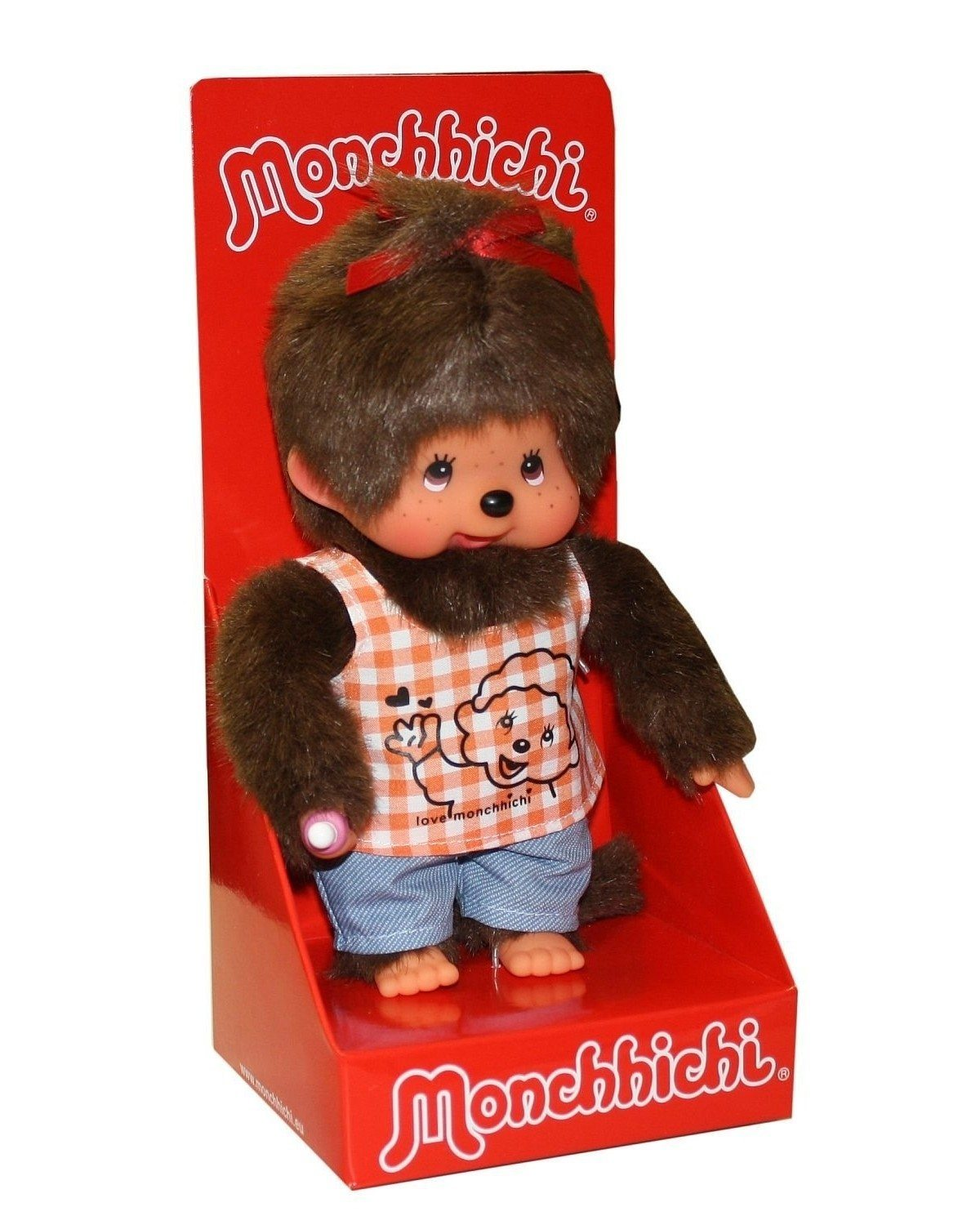 Peluche Kiki Monchhichi - fille en T-shirt orange à carreaux 20 cm