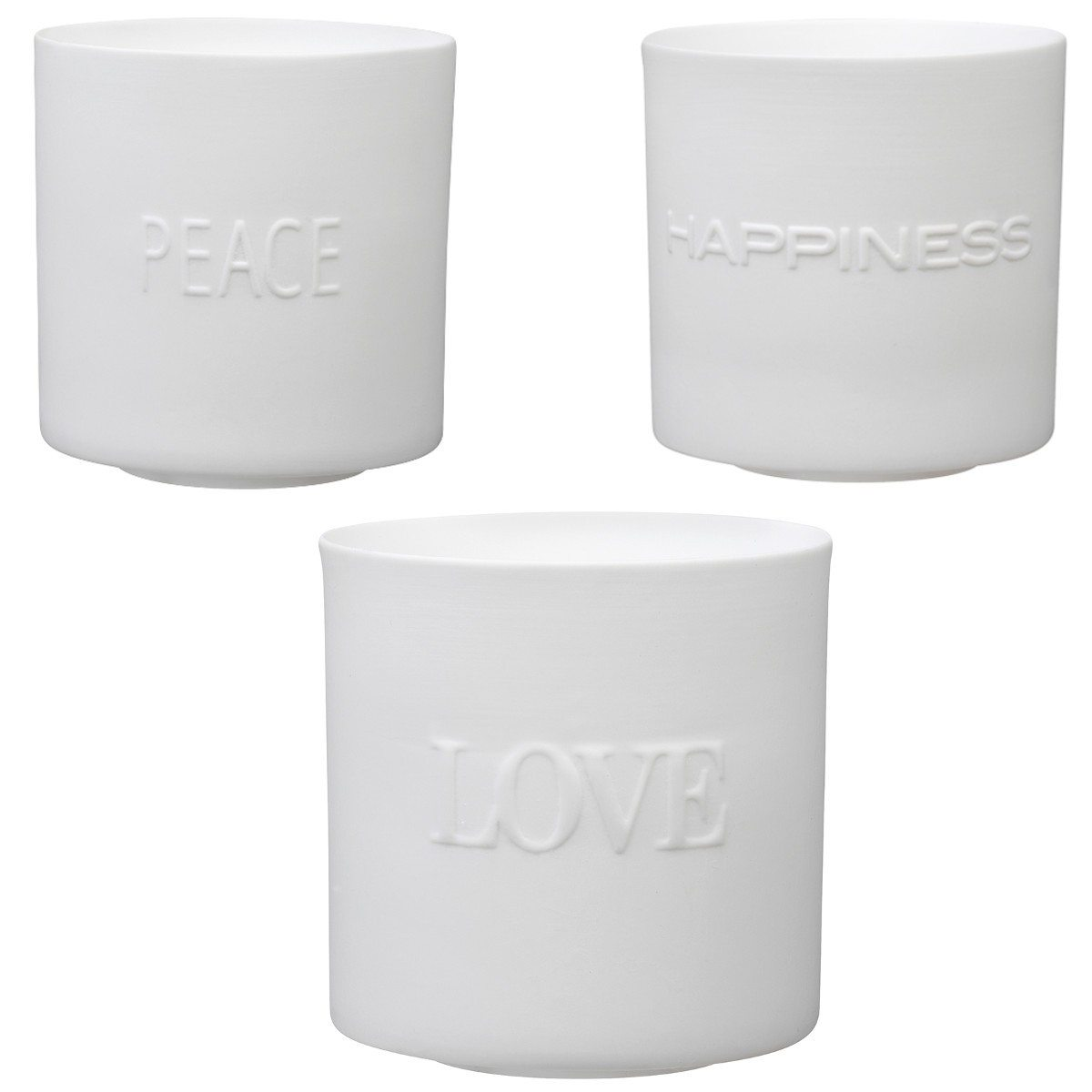 Set porte-bougies - Love, Peace & Happiness
