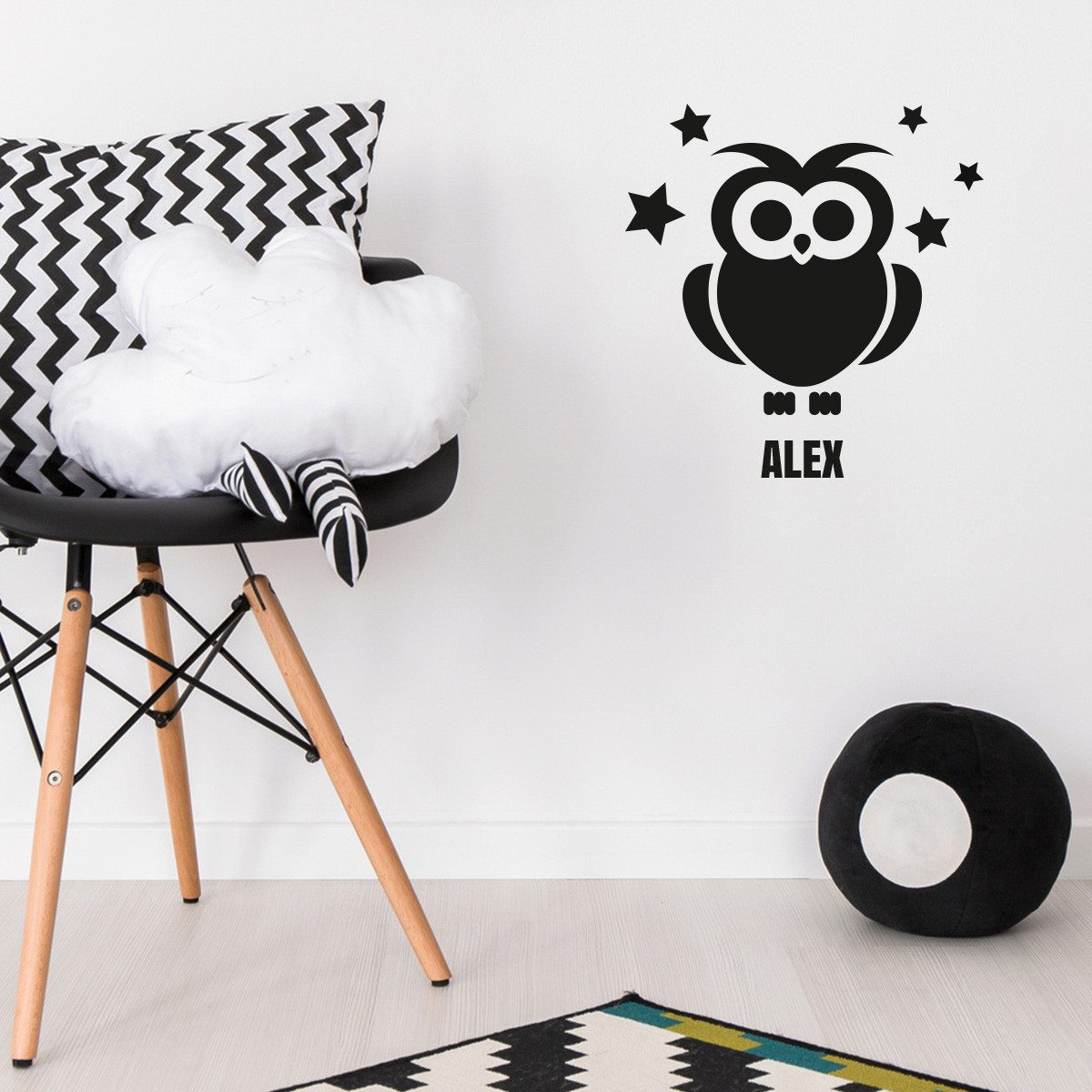 sticker mural personnalis chouette sur id. Black Bedroom Furniture Sets. Home Design Ideas