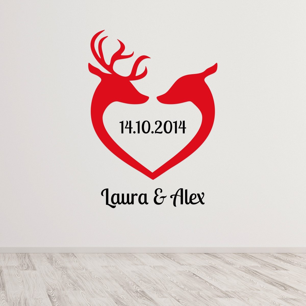 sticker mural personnalis couple de cerfs coeur. Black Bedroom Furniture Sets. Home Design Ideas