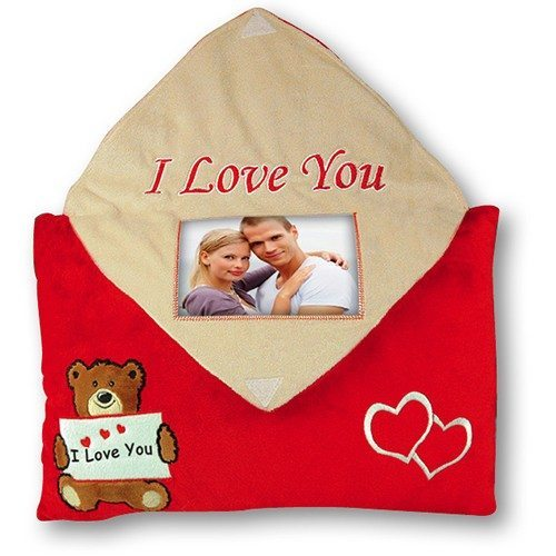 Coussin cadre-photo I love you