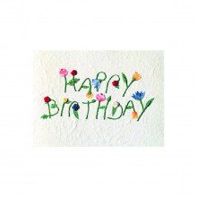 Carte lettres florales - Happy Birthday