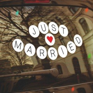 Autocollant pour voiture «Just married»