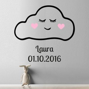 Stickers mural personnalisé - nuage rose mood pic